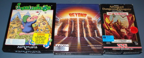 Lemmings, Beyond Zork, Eye of the Beholder. Cropped to remove tabletop.