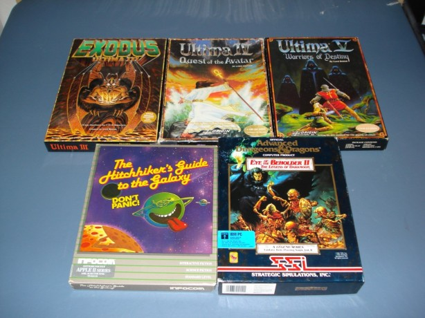 Ultima III, Ultima IV, Ultima V, Hitchhiker's Guide to the Galaxy, Eye of the Beholder II